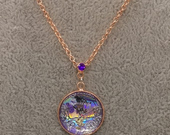 Holographic Fairy Flowers Painted Purple Rosegold-tone Pendant on Rolo Chain