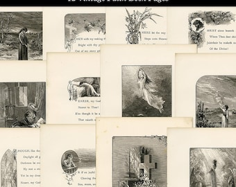 12 Vintage Shabby Aged Christian Faith Illustrations and Poetry Printable Book Pages Digital Download JPG Format