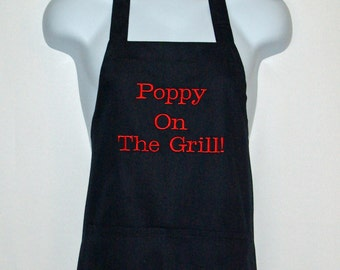 Poppy Apron, Gift For Grandparent, Custom Personalize With Grampy, Pappy, Opa, Pop, Great Granddad, No Shipping Fee, Ships TODAY, AGFT 880