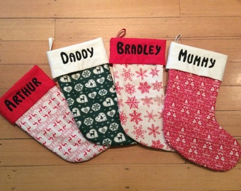 PERSONALISED  55cm Long Christmas Stockings, Made To Order, Quality Padded and Lined
