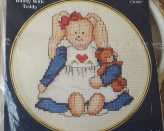 Bunny with Teddy Country Cross Stitch Kit by Dale Burdett to work on 100% Aida cloth - Counted Cross Stitch Kit with Frame
