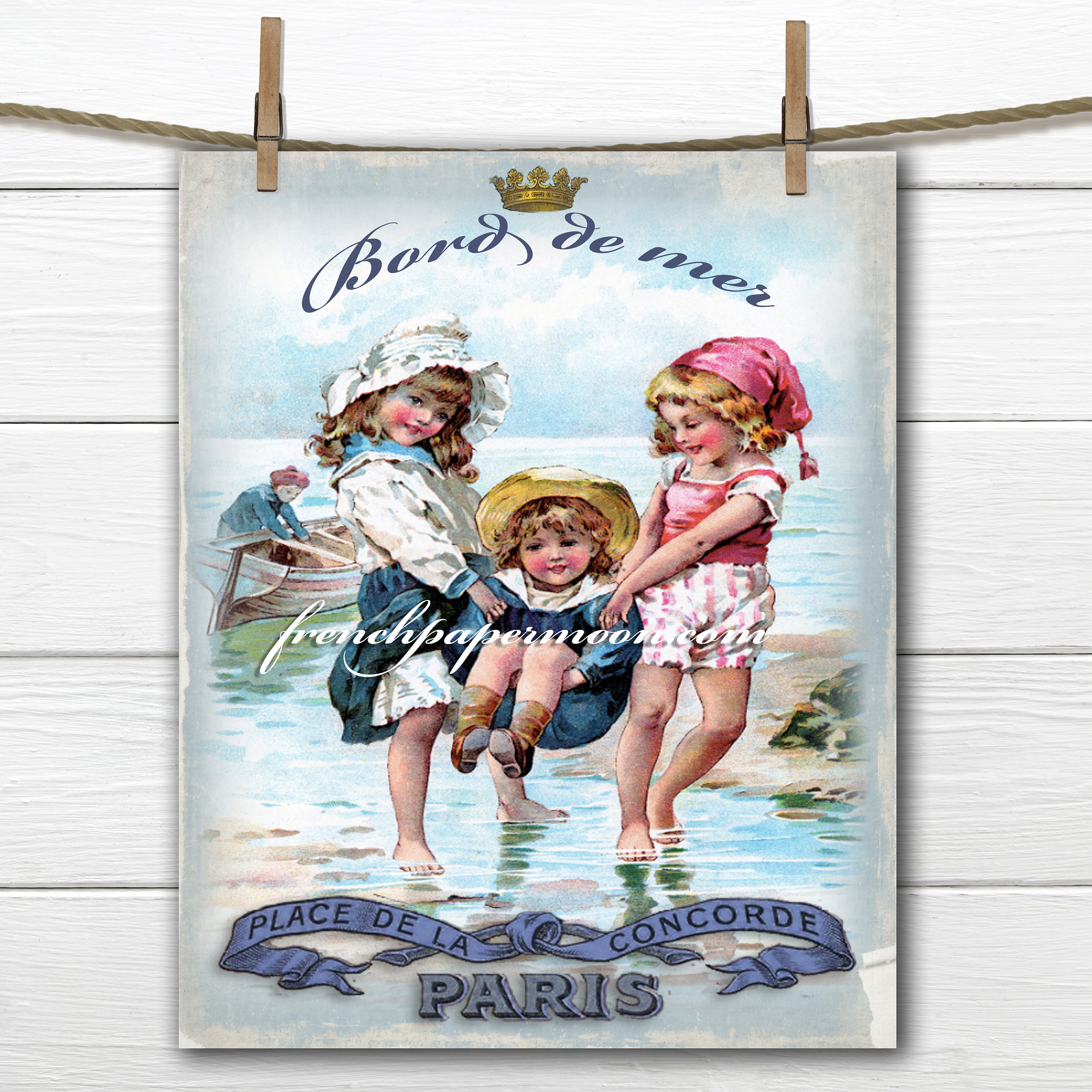 Vintage Digital French Seaside Children Beach Graphics Fabric Transfer Graphic