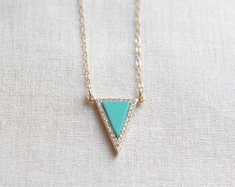 Pave Triangle Necklace With Turquoise Center   Delicate Minimalist Jewelry