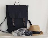 Unisex, Dark navy backpack , diaper bag, laptop bag, dipaer backpack. 2 front pockets. 7 inside pockets. Waterproof poly lining available