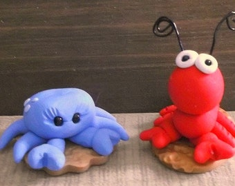 Crab and Lobster polymer clay figurines