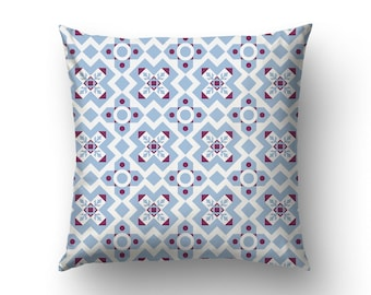 Blue Pillow Cover, Ceramic Tile Art, Barcelona Pillows, Modernist Designs, Interior Design, 14x14 Pillow, 16x16 Covers and more