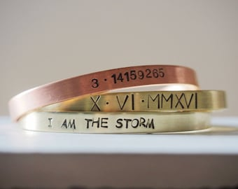 I am the STORM bracelet, hand stamped cuff bracelet inspirational game of thrones handmade bracelet adjustable i am the storm quote bracelet