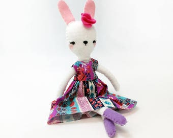 Rabbit Toy PDF, Plush Rabbit Toy Pattern,Frida Doll, Frida Sewing Pattern, Plush Rabbit Pattern, Felt Rabbit Toy, Stuffed Rabbit Toy PDF