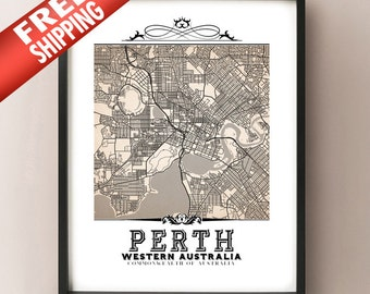 Perth Vintage Style Sepia Map Art Print - Perth, Western Australia City Map Decor
