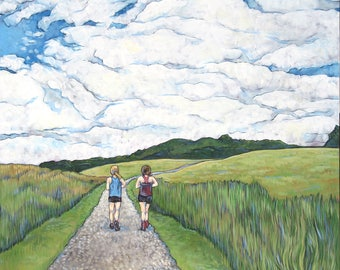 Running Painting Trail Runners Signed Print of Acrylic painting of Moses Cone Blowing Rock Landscape Multiple Sizes Available.