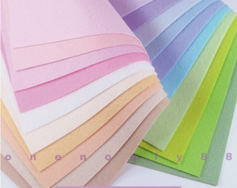 20 Pastels Felt Collection - 20cm x 20cm per sheet