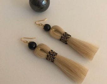 Tassel Earrings, horse hair, brocade ribbon and tigers eye