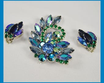 Spectacular Vintage 50's Blue and Green Rhinestone Brooch and Clip-on Earring Set