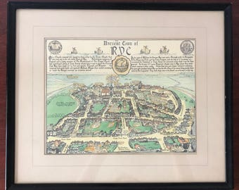 Town of Rye New York Framed Hand Colored Map