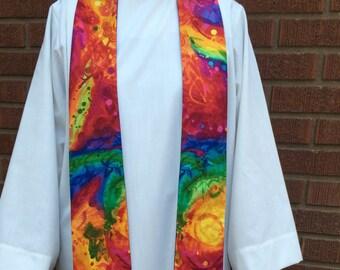 Rainbow Clergy Stole, Priest Stole, Clergy Stole, All Season Stole, Rainbow Stole