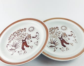 Vintage Arabia of Finland brown and white porcelain plates with farm boy graphics - fishing with  sc 1 st  Etsy & Arabia plate | Etsy