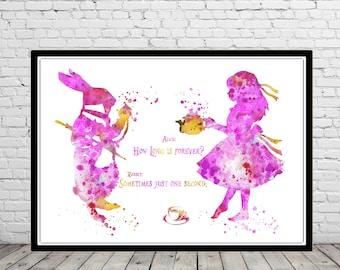 Alice in Wonderland inspired, Alice and White Rabbit, quote, Alice quote, watercolor Alice, Alice print (4399b)