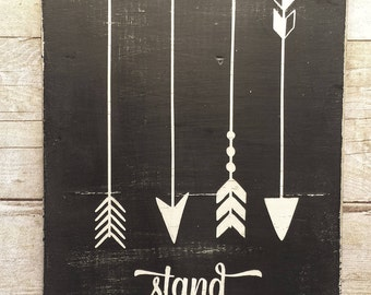 Stand Tall / Arrow / Nursery / Baby  / Shower / Gift / White / Black  / Paint / Home Decor / Gallery Wall / Farmhouse / Rustic / Wood Sign