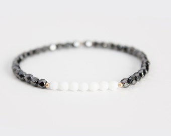 Hematite and White Beaded Bracelet - Gold Filled or Sterling Silver - Naeva