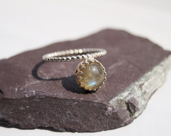Floating Labradorite Crown Sterling Silver Ring ~ statement ring, stacking ring, gemstone, unique, solitaire, gothic, victorian