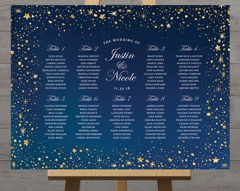 Stars wedding seating chart, celestial night, silver gold stars guest table plan wedding printable board night sky table assignment, DIGITAL