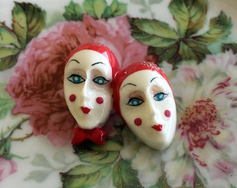 Vintage Brooch hand Painted Plastic Mime Clown Faces Red and White
