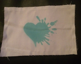 Teal exploding heart patch