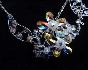 Wire Wrapped necklace, Swarovski crystal Flowers
