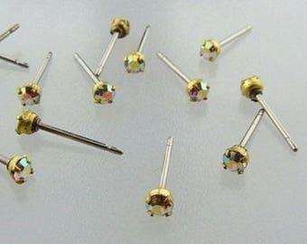 12 CRYSTAL AB RHINESTONE glass Vintage jewel brass steel stud earrings v804