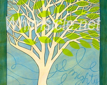 "Tree Art Print inspired by fortune cookies ""Mighty"" matted"