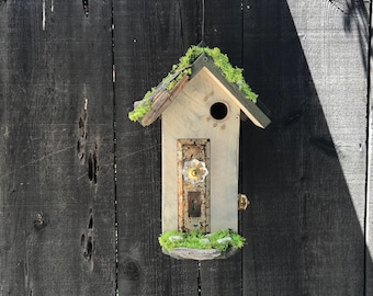 Birdhouses Handmade Wood Bird House with Mosaic Tile Stone, Antique Door Plate & Glass Doorknob, Garden Birds Nest Box, Item #600415336