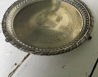 Antique Silver Plated Footed  round Decanter Tray - James Dixon & Sons Sheffield with
