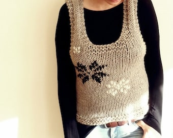 Grey Sleeveless Hand Knitted Sweater Wool Sweater Handmade Winter Fashion