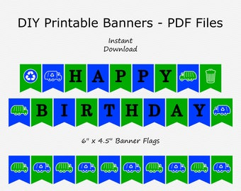 Happy Birthday Banner - Royal Blue & Green - Garbage Truck, Recycle Truck, Trash Can - PRINTABLE - INSTANT DOWNLOAD