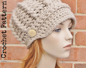 CROCHET HAT PATTERN Instant Download Pdf - Avery Newsboy Hat Brimmed Beanie Womens - Permission to Sell English Only