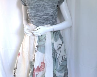 MARY McFADDEN COUTURE Fortuny Pleat Off Shoulder Floral Painted Sweetheart Layered Silk Dress - Rare 1980s Sophisticated Vintage Couture