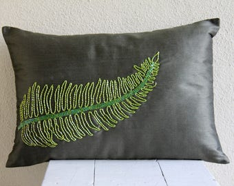 Decorative Oblong / Lumbar Throw Pillow Covers Accent Pillows Couch Pillow Case 12x16 Green Silk Pillow Cover Bead Embroidered - Green Tea