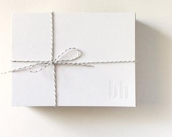 20 Simple Custom Monogram Note Cards Initial Blind Deboss Personal Letterpress Note Cards for Teachers or Men