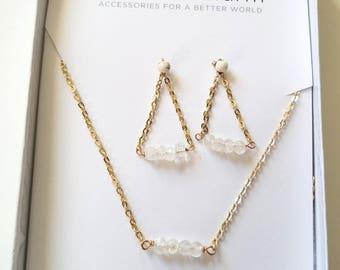 Lemon Quartz Dainty Bead Necklace and Earring Gift Set