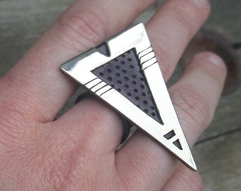 """Ring """"Doom"""" Silver-cut hand punched and oxidized ZuLu"""