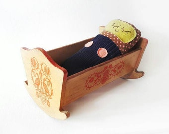 Mid Century Rocking Doll Bed with Folk Birds Pattern in Red Made of Wood
