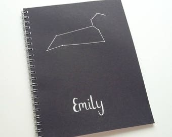 Personalised zodiac constellation notebooks A5 lined wire bound