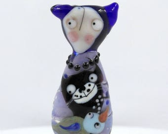Sra lampwork glass bead focal , people , girl doll with cat and  bird bead , murano glas bead