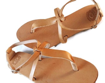 Thong Summer Sandals, Barefoot Leather Sandals, Handmade Greek Sandals, Flat Women Sandals.
