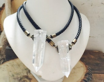 Crushed Pyrite Quartz Crystal Choker/ Collar Neckpiece / Crystal Quartz Necklace/ Leather Necklace/ Crushed Pyrite/ Natural Gem Stone/ Boho