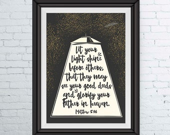 Let your light shine before others - Matthew 5:16 - Childrens Bible Verse Print