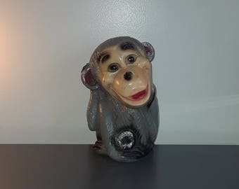 Wonderful Old Carnival Prize 1940's to 1950's vintage chalkware Monkey Bank super cute