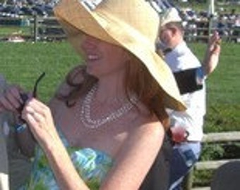 A Day at the Races...  Linen Straw Wide Brim Sun Hat