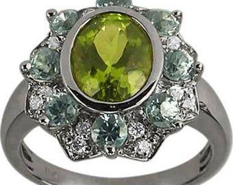 Classic Peridot And Aquamarine Diamond Ring 14Kt Gold