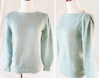 Vintage Turquoise Pastel Knit Sweater. Medium